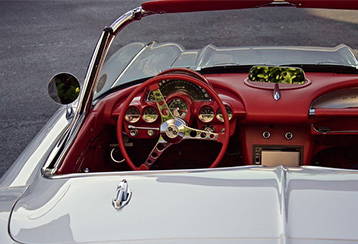 Convertible with top down and view of inside drivers area
