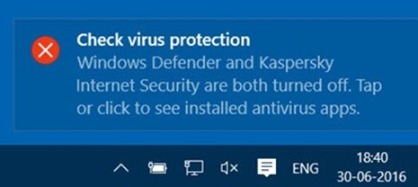 Windows Check Virus Protection notification