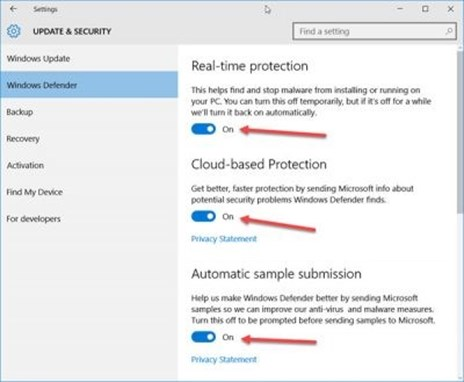 Update and Security, Windows Defender options